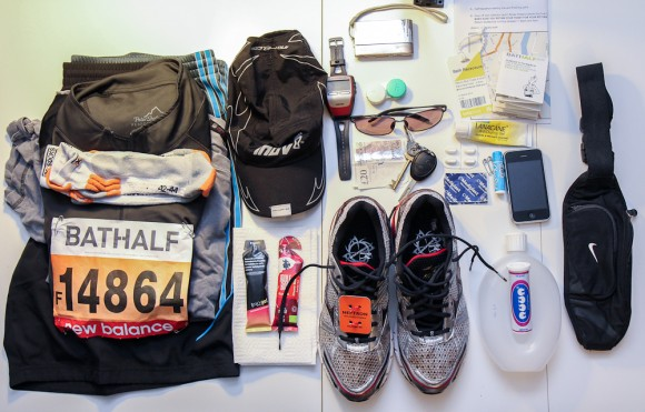 My array of equipment for running the Bath Half Marathon